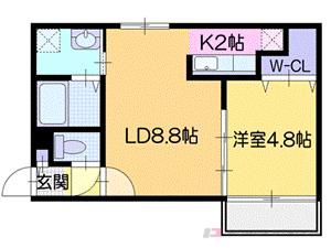 札幌市厚別区厚別中央2条3丁目0賃貸マンション間取図面