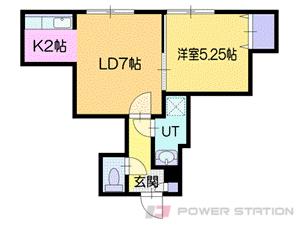 厚別1LDKアパート図面