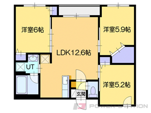 札幌市厚別区厚別西1条3丁目1賃貸マンション間取図面