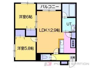 札幌市厚別区青葉町7丁目11賃貸マンション間取図面