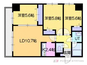 小樽市花園4丁目1賃貸マンション間取図面