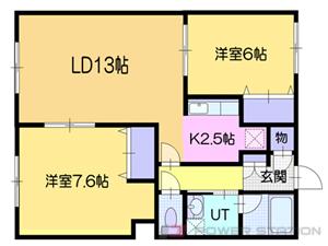 小樽市入船1丁目0賃貸アパート間取図面