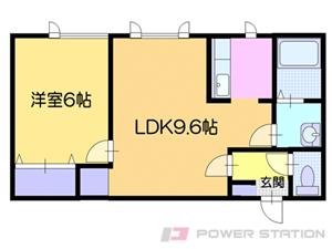 小樽1LDKアパート図面