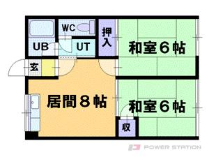 小樽市最上1丁目0賃貸アパート間取図面