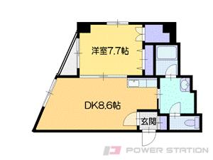 小樽1DKマンション図面