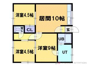 小樽市住ノ江2丁目1賃貸アパート間取図面