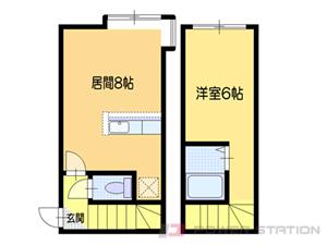 南小樽1DKアパート図面