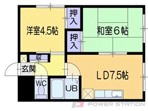 南小樽2DKアパート図面