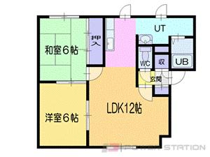小樽2LDKアパート図面