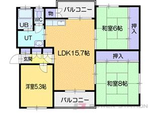小樽市長橋5丁目1賃貸マンション間取図面