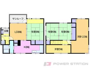 小樽市新光4丁目1一戸建貸家間取図面
