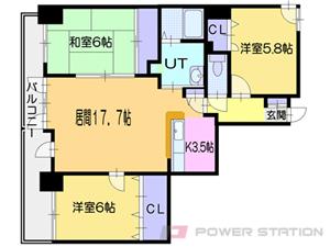小樽3LDK分譲リースマンション図面