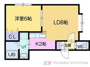 朝里1LDKアパート図面