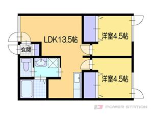 小樽市緑4丁目0賃貸アパート間取図面