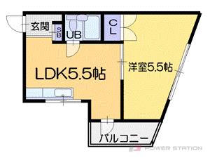 小樽市緑4丁目0賃貸マンション間取図面