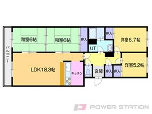 小樽市桜1丁目0分譲リースマンション間取図面
