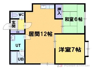 小樽築港2LDKアパート図面