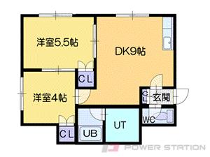 小樽市朝里2丁目1賃貸アパート間取図面