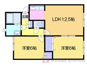 南小樽2LDKアパート図面