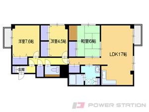 小樽市緑1丁目0賃貸マンション間取図面