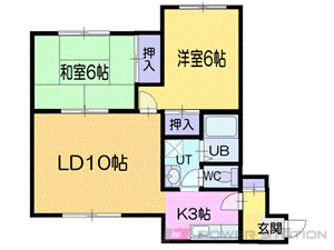 小樽市奥沢3丁目0賃貸マンション間取図面