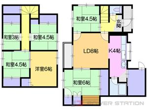 小樽市若竹町1一戸建貸家間取図面