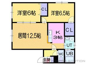 小樽市真栄1丁目0賃貸アパート間取図面