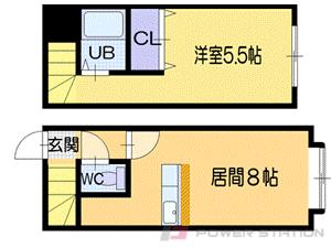 小樽市東雲町1賃貸アパート間取図面