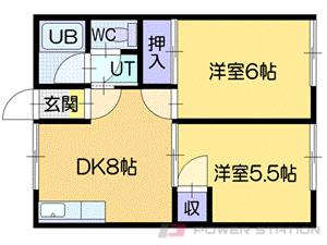 小樽築港2DKアパート図面