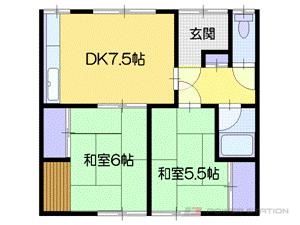 小樽市新光1丁目0賃貸アパート間取図面