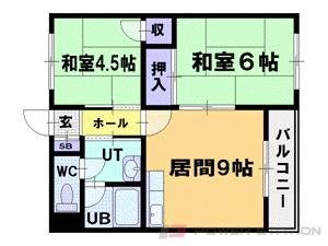 朝里2LDKアパート図面