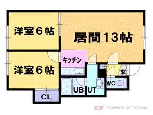 小樽市桜5丁目0賃貸アパート間取図面