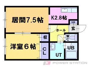 小樽築港1LDKアパート図面