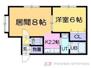 銭函1LDKアパート図面