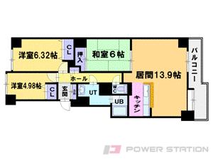 小樽築港3LDKマンション図面