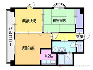 小樽市稲穂4丁目0賃貸マンション間取図面
