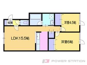 小樽市赤岩2丁目0賃貸アパート間取図面