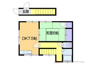 小樽市幸3丁目1一戸建貸家間取図面