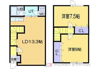 小樽市花園3丁目0テラスハウス間取図面