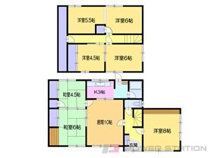 小樽市オタモイ3丁目1一戸建貸家間取図面