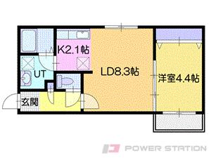 アヴェニール:2号室タイプ【1LDK】