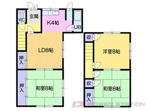 小樽市奥沢3丁目1一戸建貸家間取図面
