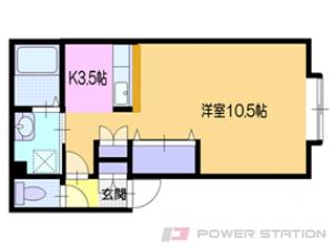 朝里1Kアパート図面