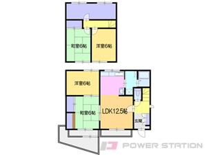 小樽市桜3丁目1一戸建貸家間取図面