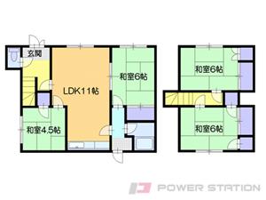 小樽市長橋5丁目1一戸建貸家間取図面