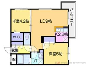 銭函2LDKマンション図面