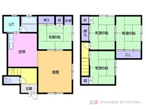 小樽市天神1丁目1一戸建貸家間取図面