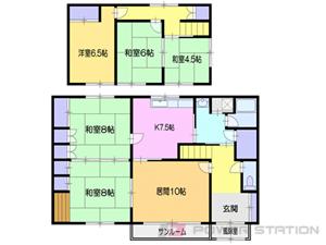 小樽市富岡2丁目1一戸建貸家間取図面