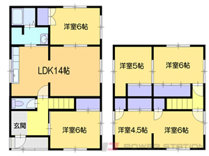 小樽市潮見台1丁目1一戸建貸家間取図面