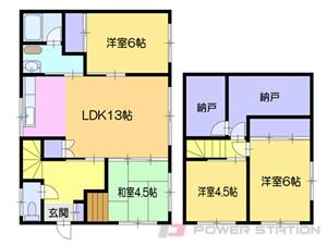小樽市オタモイ1丁目1一戸建貸家間取図面